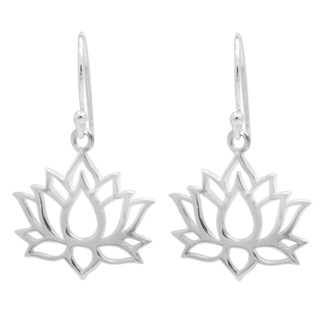 925 Silver Lotus Flower Drop Earrings