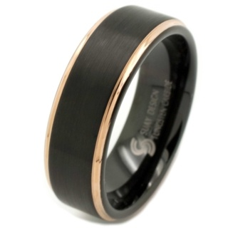 Black & Rose Gold Tungsten Ring