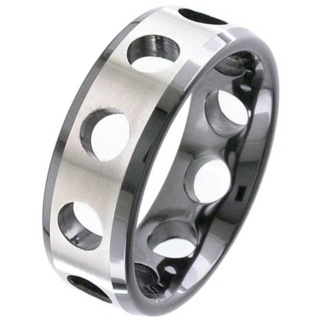 Two Tone Zirconium Ring with Cut Out Detailing