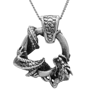 925 Silver Circular Dragon Pendant