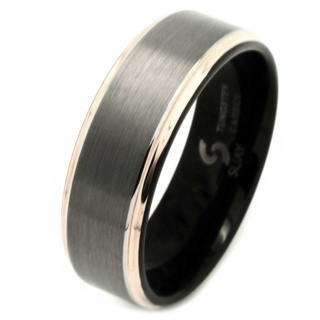 Tungsten Carbide Ring with Rose Gold Shoulders