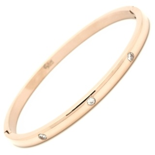 Polished Rose Gold Steel Bangle with Cubic Zirconia Crystals