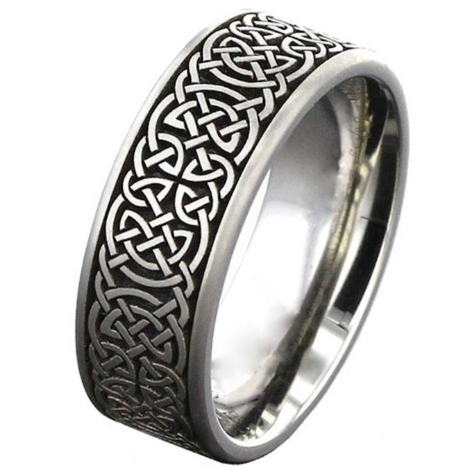 Celtic Titanium Wedding Ring Silver Titanium Rings Suay Design