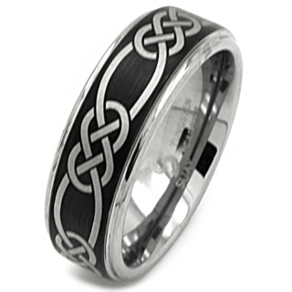 8mm Black Celtic Tungsten Ring