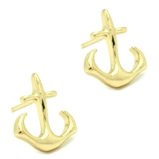 Gold Plated Anchor Stud Earrings