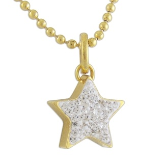 14Kt Gold Plated Steel Star with Crystals