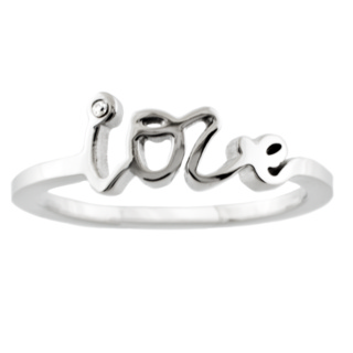 Stainless Steel Love Ring with Crystal