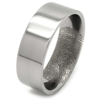 Customised Polished Titanium Ring with Secret Fingerprint