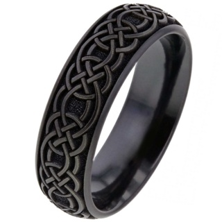 Dome Profile Black Zirconium Ring with Celtic Pattern