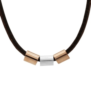 Soft Brown Leather Necklace with Rose Gold Titanium & Silver Beads