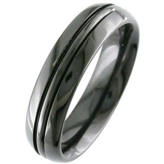 Dome Profile Black Grooved Zirconium Wedding Ring