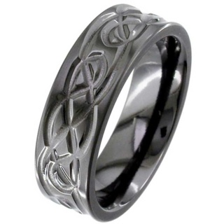 Flat Profile Black Zirconium Celtic Ring