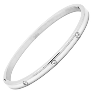 Polished Steel Bangle with Cubic Zirconia Crystals