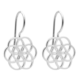 Seven Circle 925 Silver Flower of Life Earrings