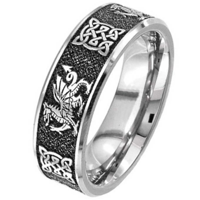 Welsh Dragon Celtic Titanium Wedding Ring Titanium Rings Suay Design
