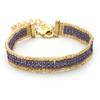 Gold Plated Amethyst & Gold Beaded Bracelet
