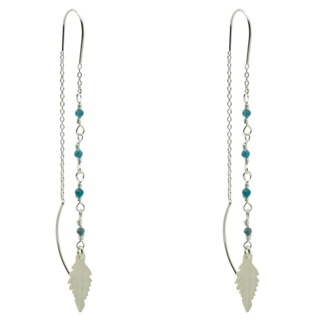 Blue Apatite Crystal Pull Through Silver Earrings