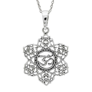 925 Silver Lotus Flower Ohm Necklace