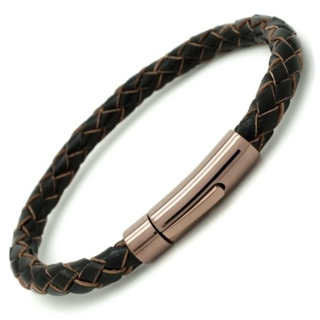 Woven Brown Leather bracelet with Coffee Coloured Clasp