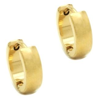 Gold Steel Dome Huggie Earrings
