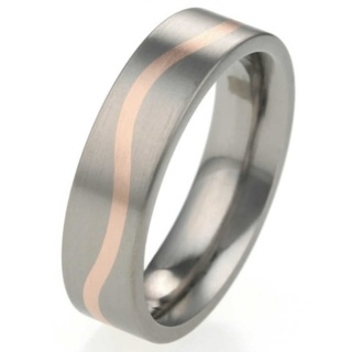 6mm Titanium Ring with Rose Gold Wave Pattern