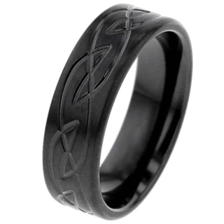 Flat Profile Zirconium Ring with Celtic Knot Pattern