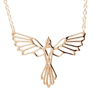 Rose Gold Flying Bird Necklace