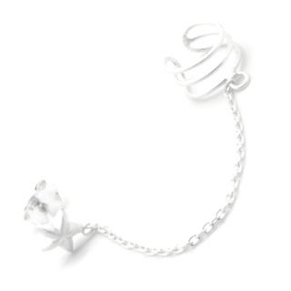 Silver Star Chain & Cuff Earring