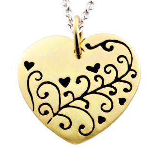 Polished Gold Heart with Floral Design Charm Necklace