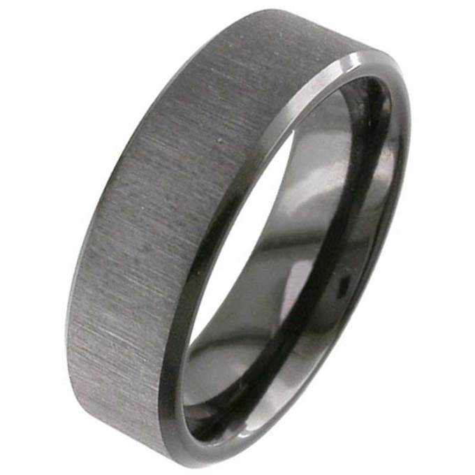 flat profile black zirconium wedding ring