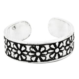 Band Of Silver Daisies Toe Ring