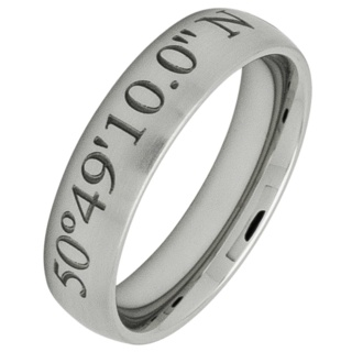 Personalised Coordinates Stainless Steel Ring Satin 6mm