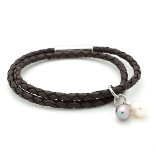 Plaited 4mm Bolo Brown Leather Bracelet with Black & White Pearl Charms