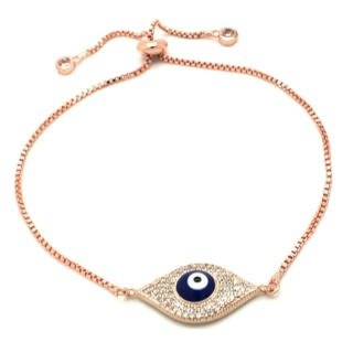 Rose Gold Tone Crystal Evil Eye Bracelet