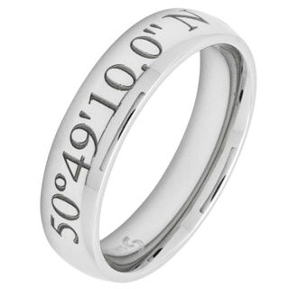 Personalised Coordinates Stainless Steel Ring Polished 6mm