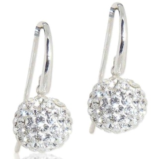 Spangle Crystal Drop Silver Earrings