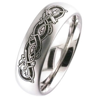 Welsh Dragon Celtic Titanium Wedding Ring