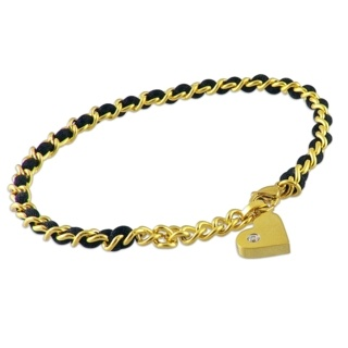 Black Silk & 14Kt Gold Steel Heart Charm Adjustable Bracelet