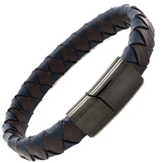 Woven Blue & Brown Leather Bracelet