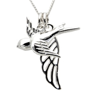 Silver Swallow with Silver Wing Charm Necklace
