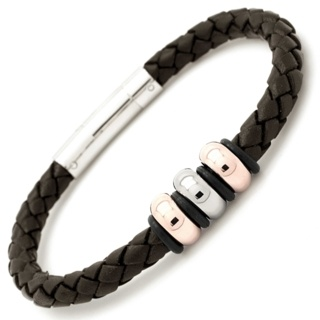 Rose Gold Titanium Bead with Brown Leather Bracelet