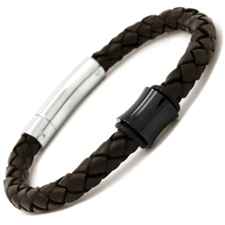 Black Concave Titanium Bead with Brown Leather Bracelet