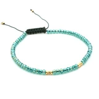 Handmade Faceted Teal Crystal Adjustable Bracelet