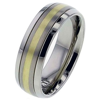 Titanium & Gold Dome Profile Wedding Ring