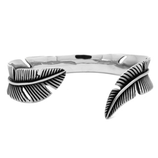 Stainless Steel Feather Cuff Bracelet