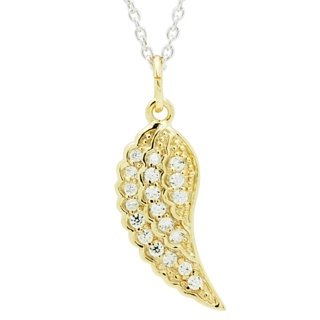Crystal Set Gold Plated Sterling Silver Angel Wing Pendant
