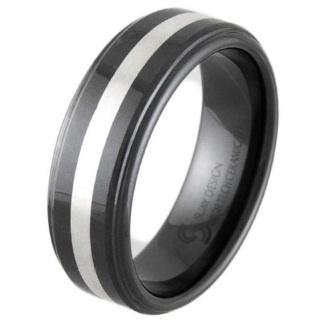 Hurricane Silver & Black Ceramic Ring