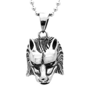 Stainless Steel Wolf Head Necklace