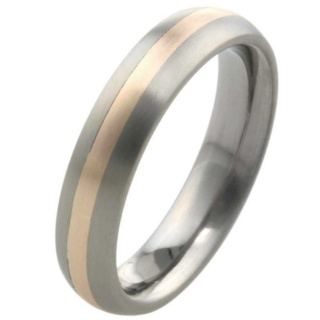 6mm Dome Profile Titanium Ring with Rose Gold Inlay
