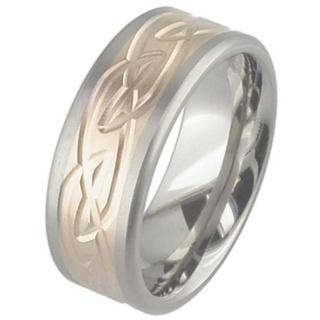 Rose Gold & Titanium Celtic Wedding Ring